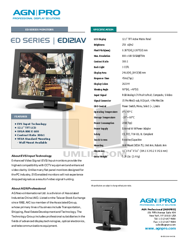 pdf for Agnpro Monitor ED-121AV manual