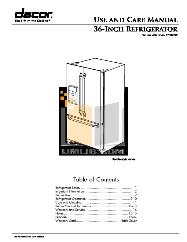 pdf for Dacor Refrigerator Epicure EF36IWFSS manual