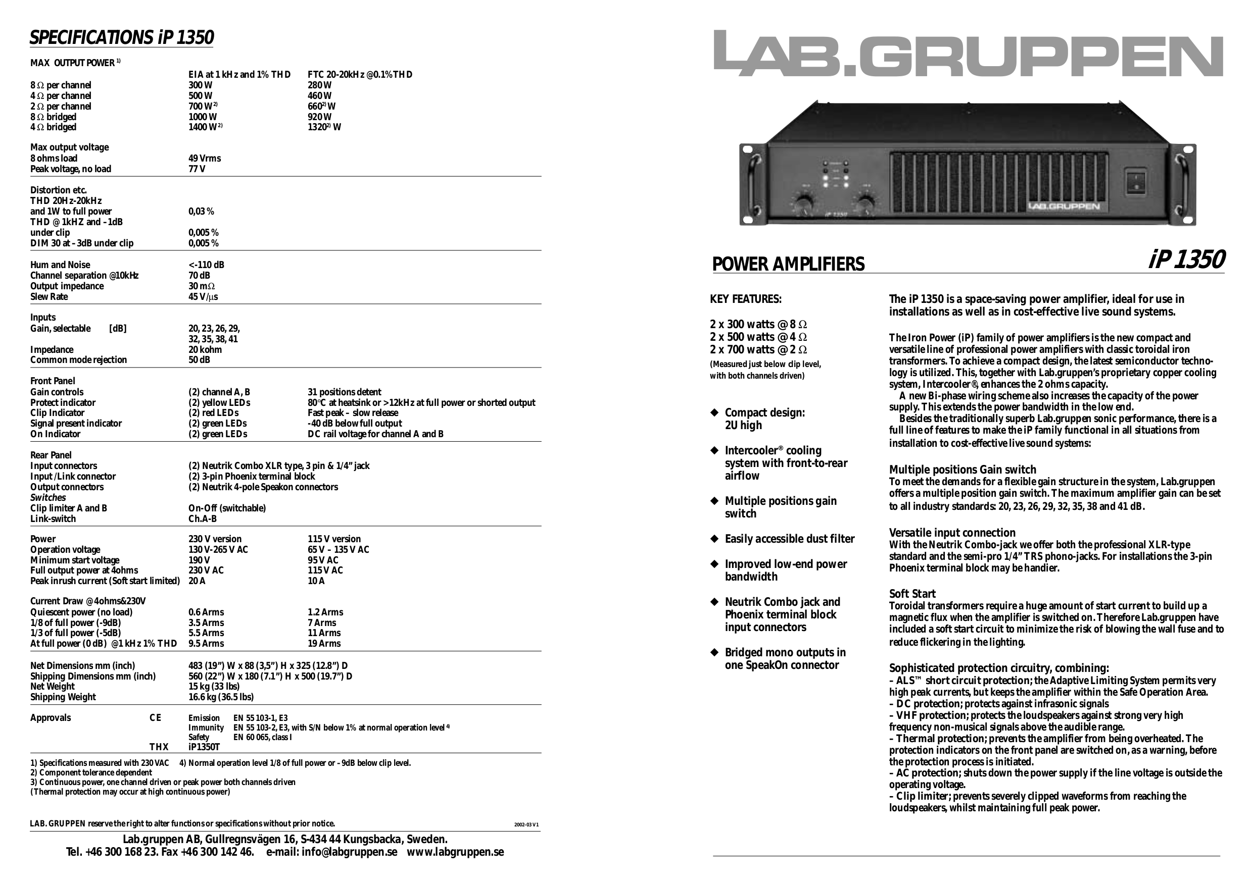 pdf for Lab.gruppen Amp iP Series IP 1350 manual