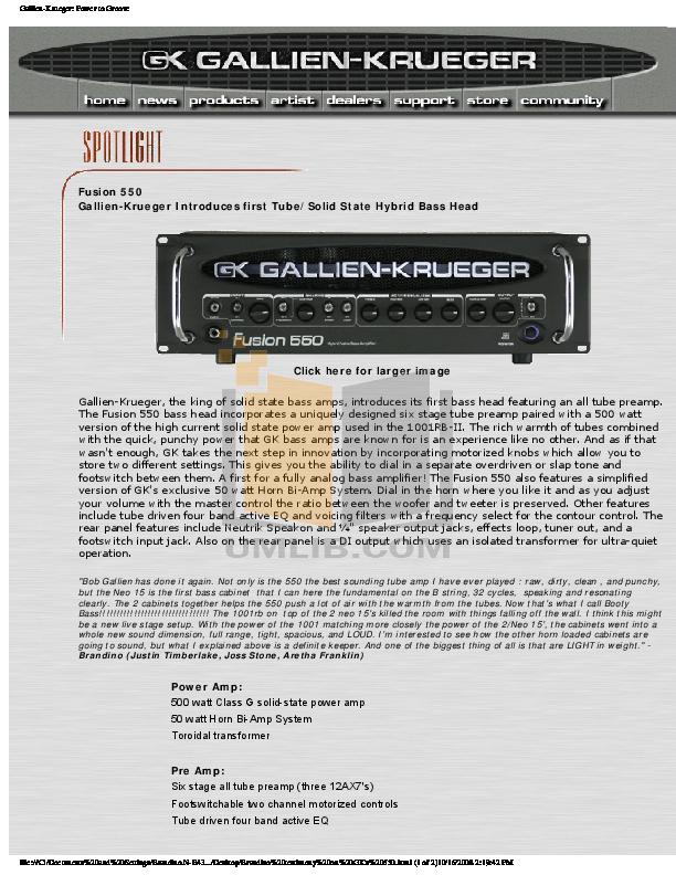 gallien krueger fusion 550 manual