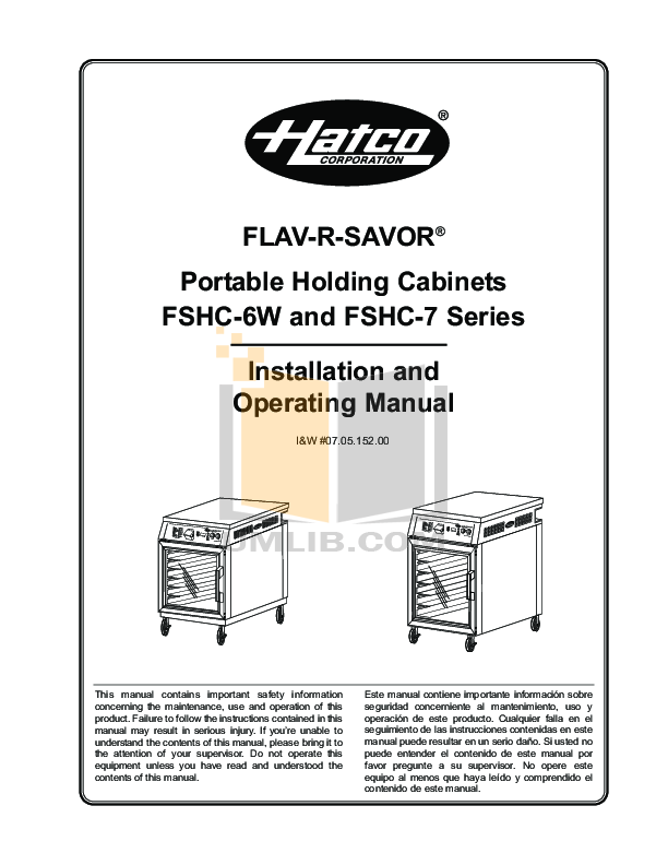 pdf for Hatco Other FSHC-7-1 manual