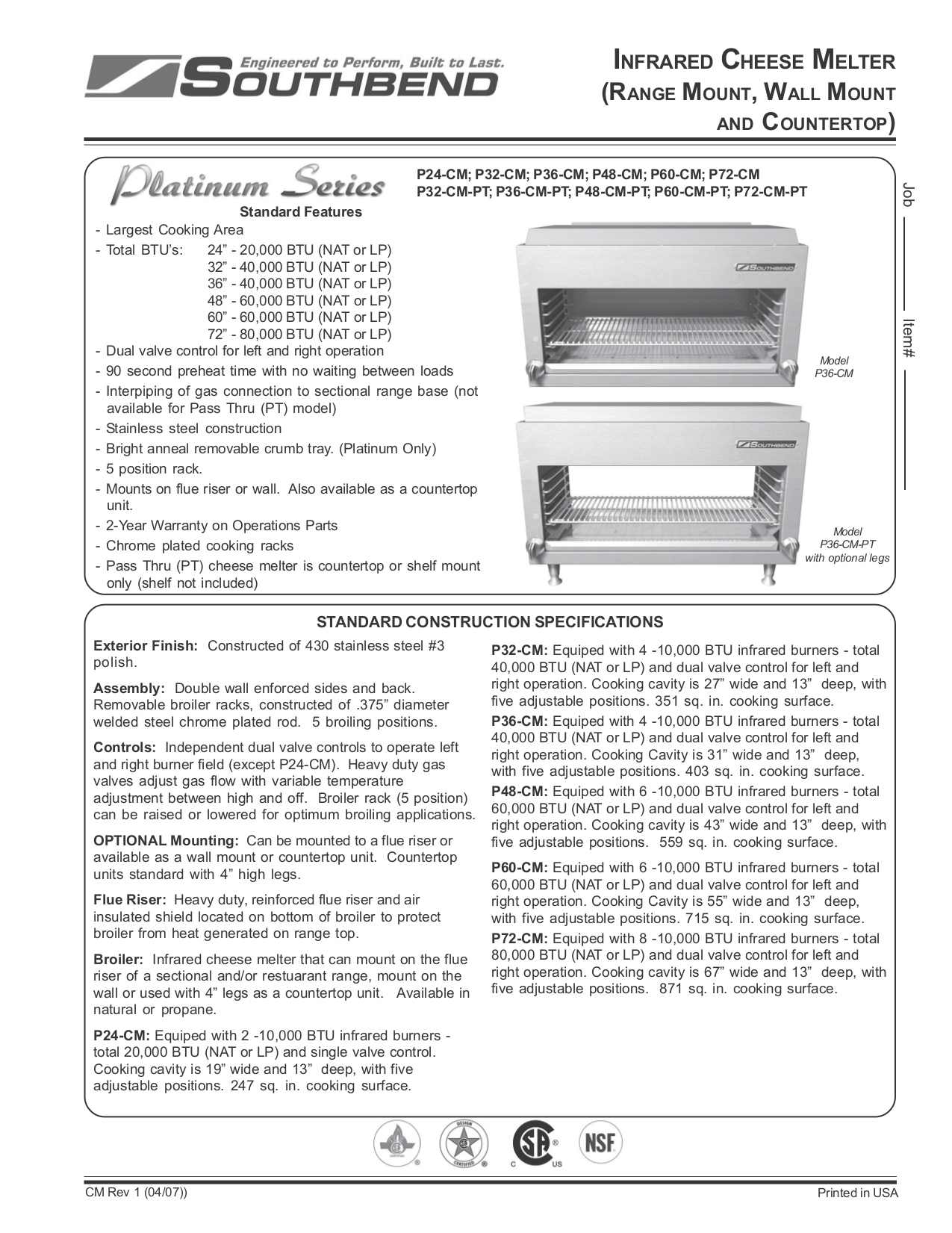 pdf for Southbend Other CM-36 Cheese Melters manual