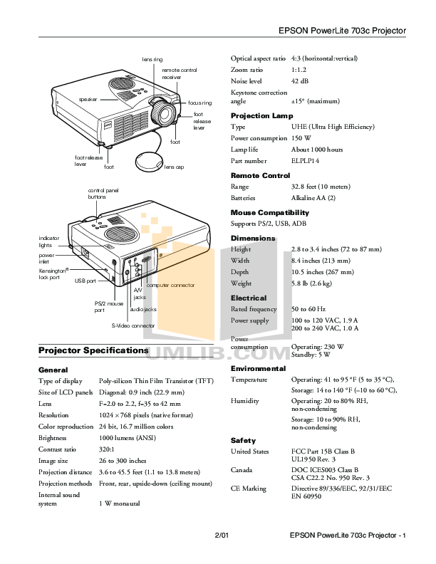 pdf for Epson Projector PowerLite 703c manual
