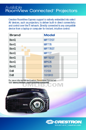pdf for Benq Projector MP670 manual