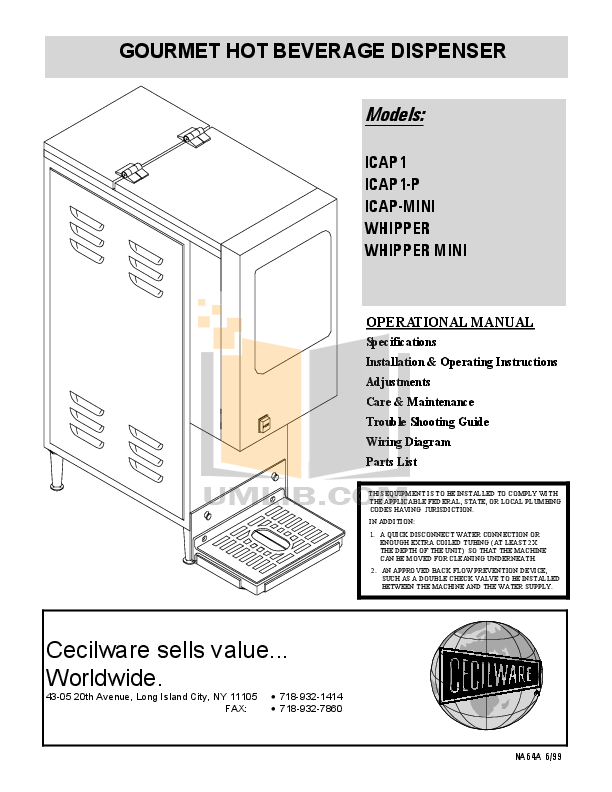 pdf for Cecilware Other ICAP-MINI Dispensers manual