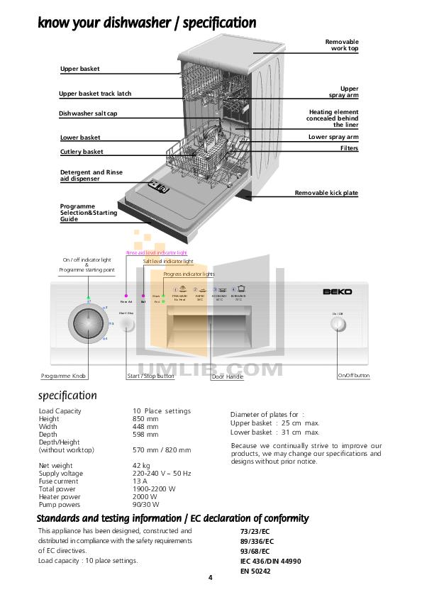 Pdf Manual For Beko Dishwasher De2431f