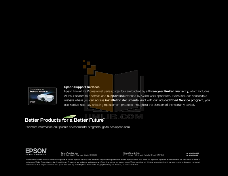 pdf for Epson Projector PowerLite 7000 manual