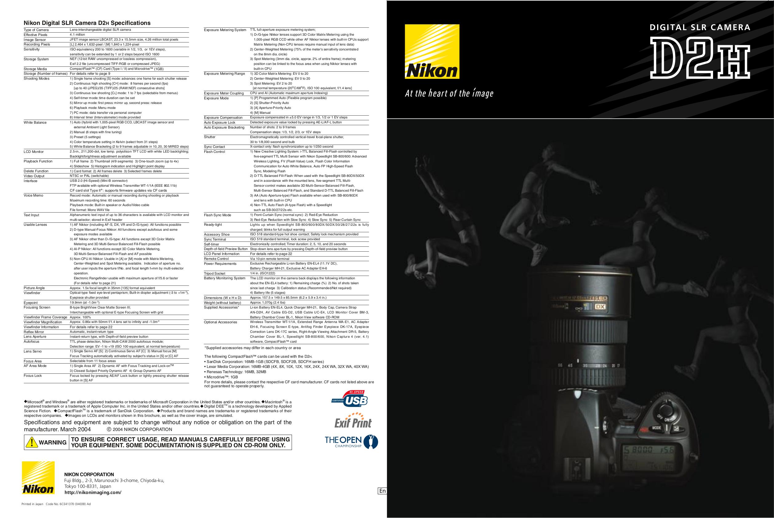 Free pdf manual download for the nikon d2h digital camera slr.