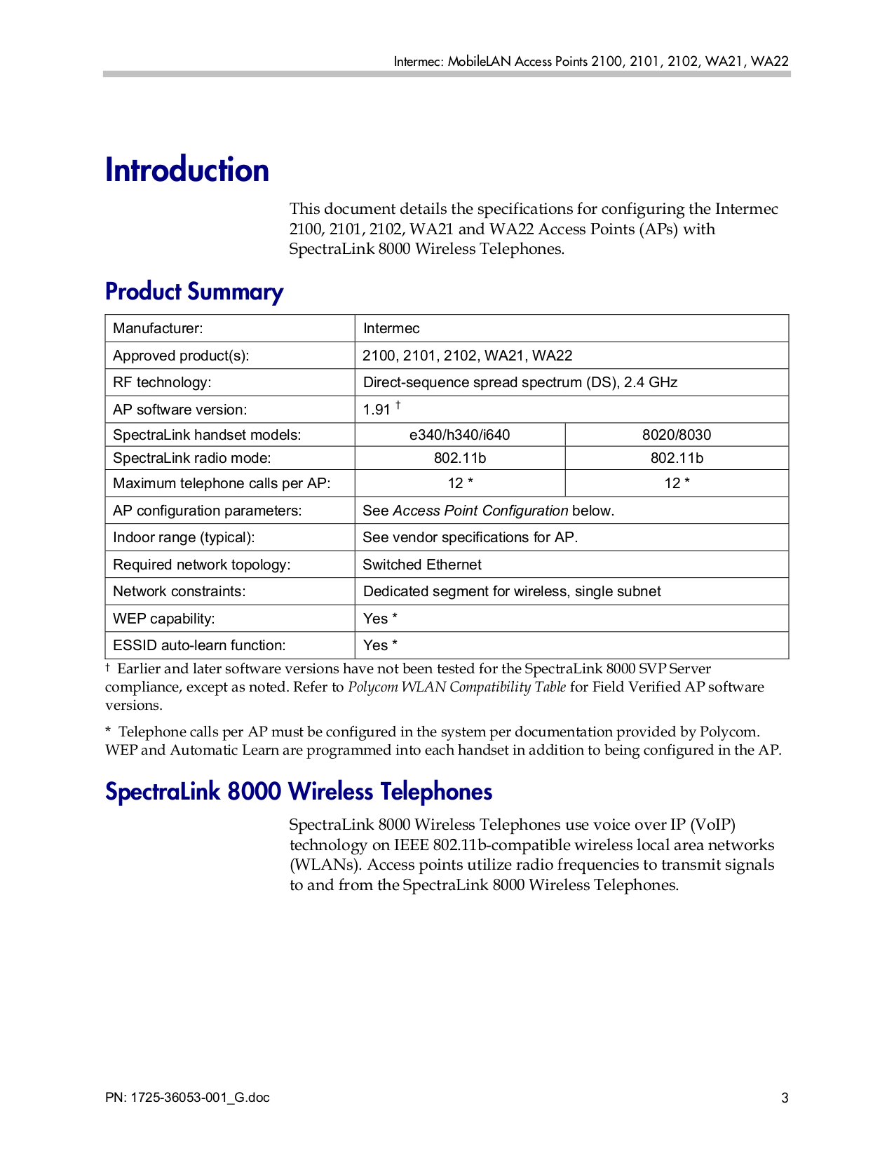 ... Intermec Other MobileLAN 2100 Access Point pdf page preview ...