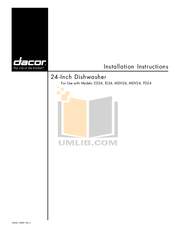 pdf for Dacor Dishwasher Integrated ID24 manual