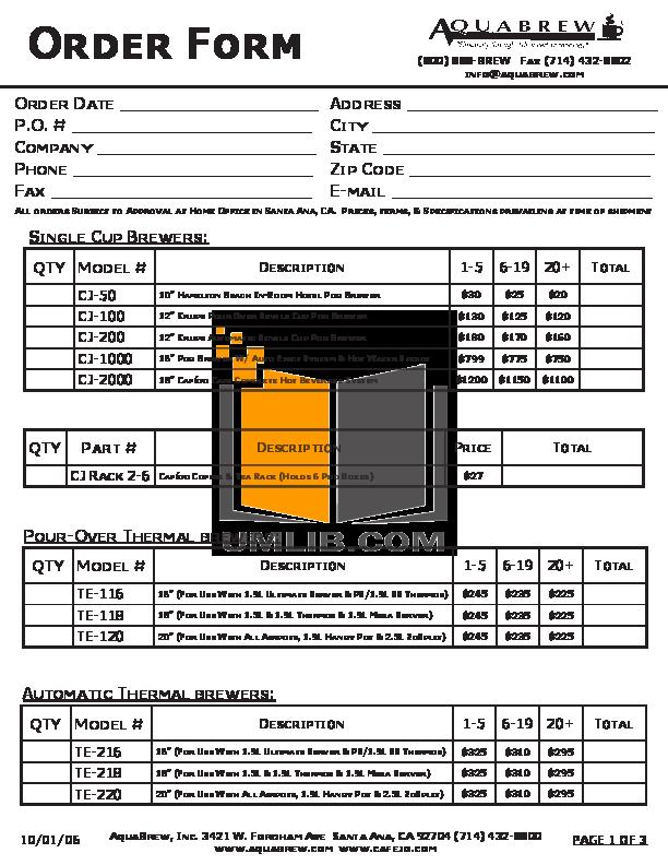 pdf for AquaBrew Coffee Maker CJ-50 manual