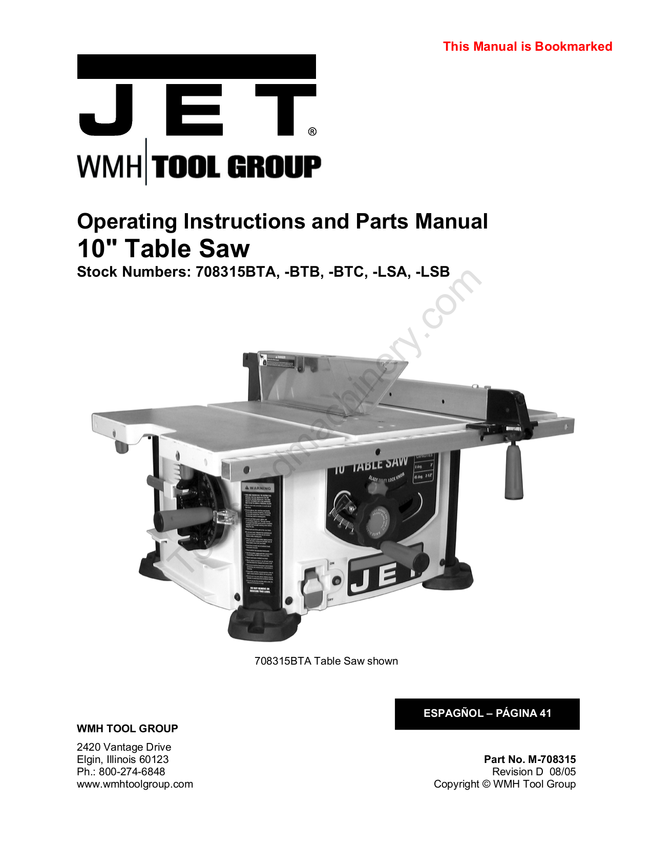 Download Free Pdf For Jet 708315 Btc Table Saw Other Manual