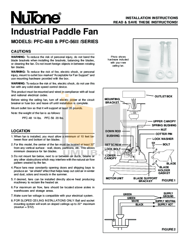pdf for Broan-NuTone Other PFC-48II Ceiling Fans manual