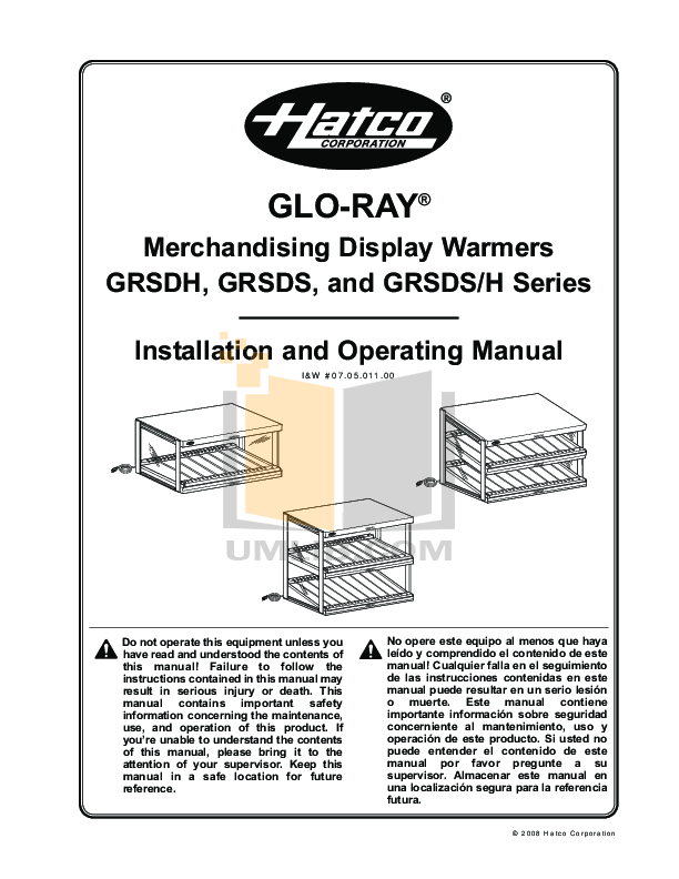 pdf for Hatco Other GRSDH-60 manual