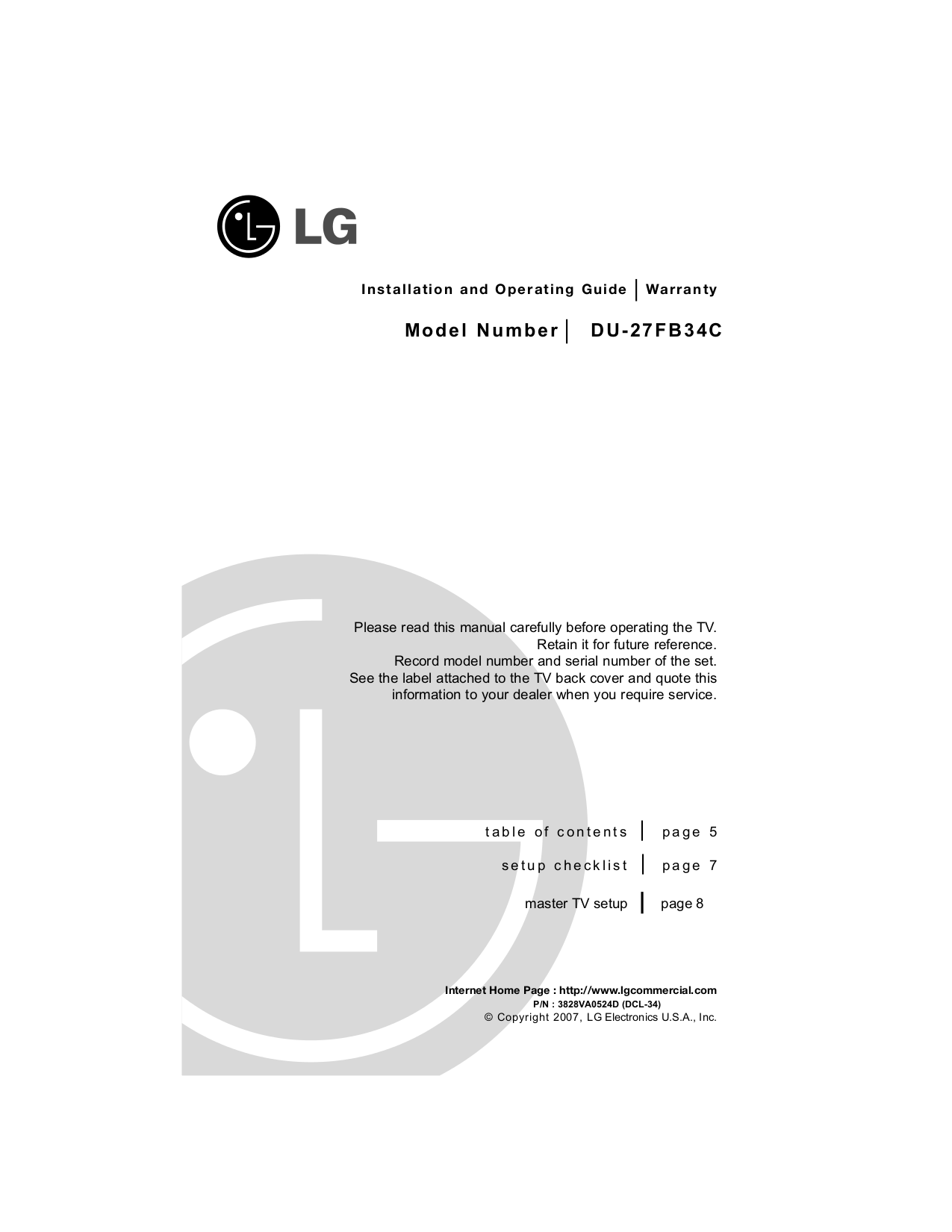 pdf for LG TV DU-27FB34C manual