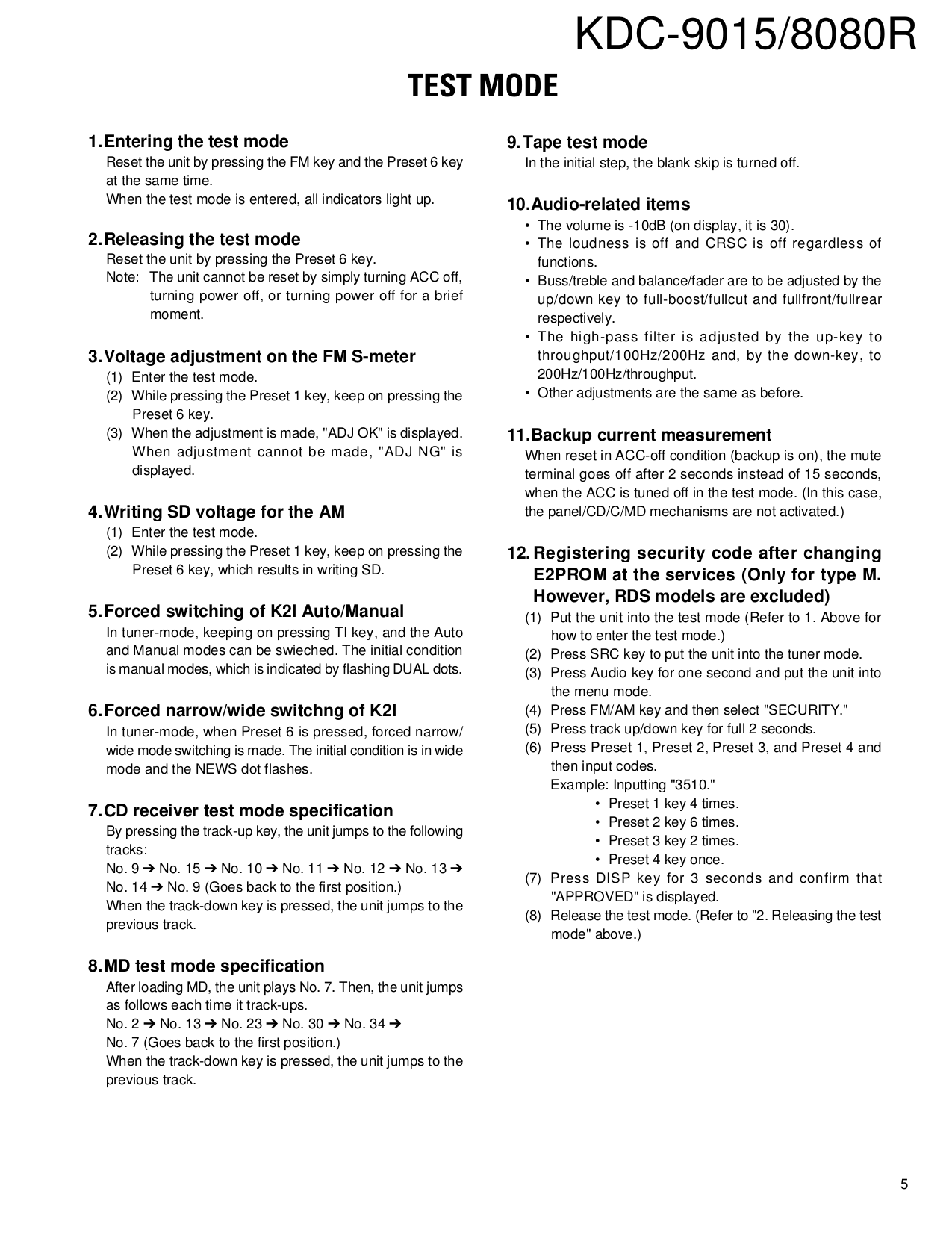 PDF manual for Kenwood Car Receiver KDC-9015