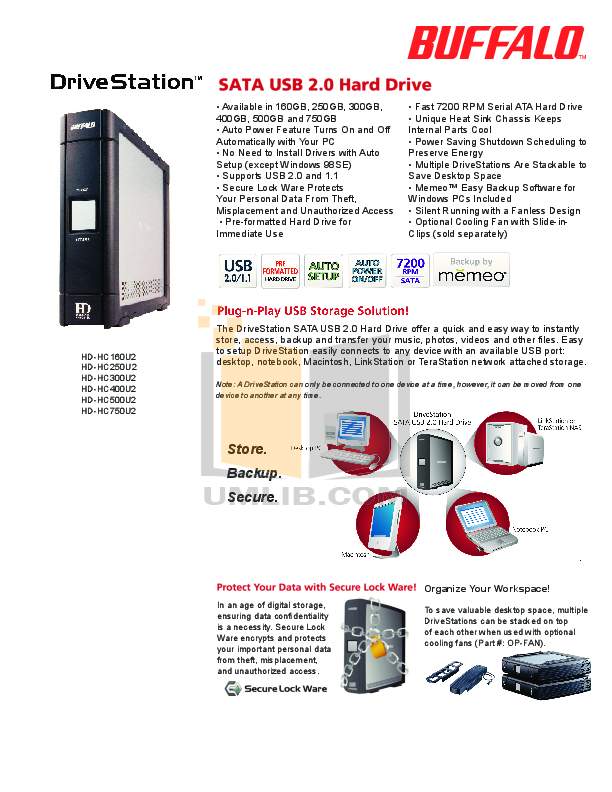 pdf for Buffalo Storage HD-HC400U2 manual