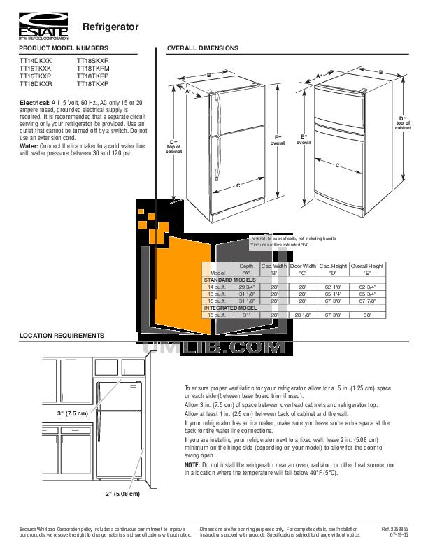 pdf for Estate Refrigerator TT18TKXP manual