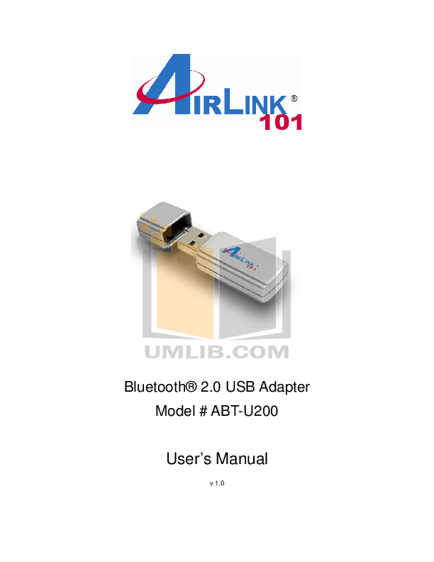 pdf for Airlink Other ABT-U200 Bluetooth Adapter manual