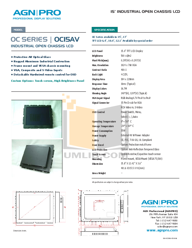 pdf for Agnpro Monitor OC-15AV manual