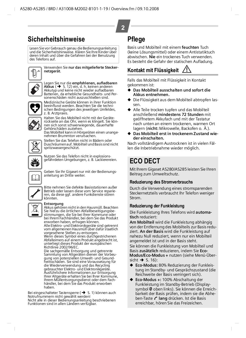 PDF manual for Siemens Telephone Gigaset C285-2