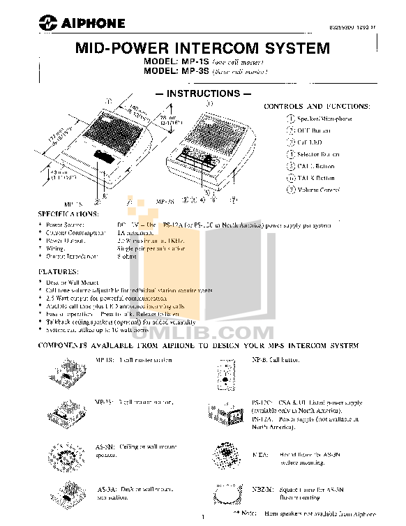 pdf for Aiphone Other AS-3A Intercoms manual