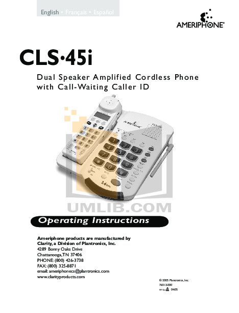 pdf for Ameriphone Telephone CLS45i manual