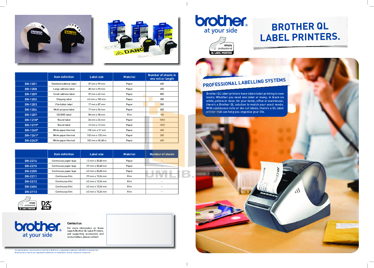 pdf for Brother Printer QL-1060N manual