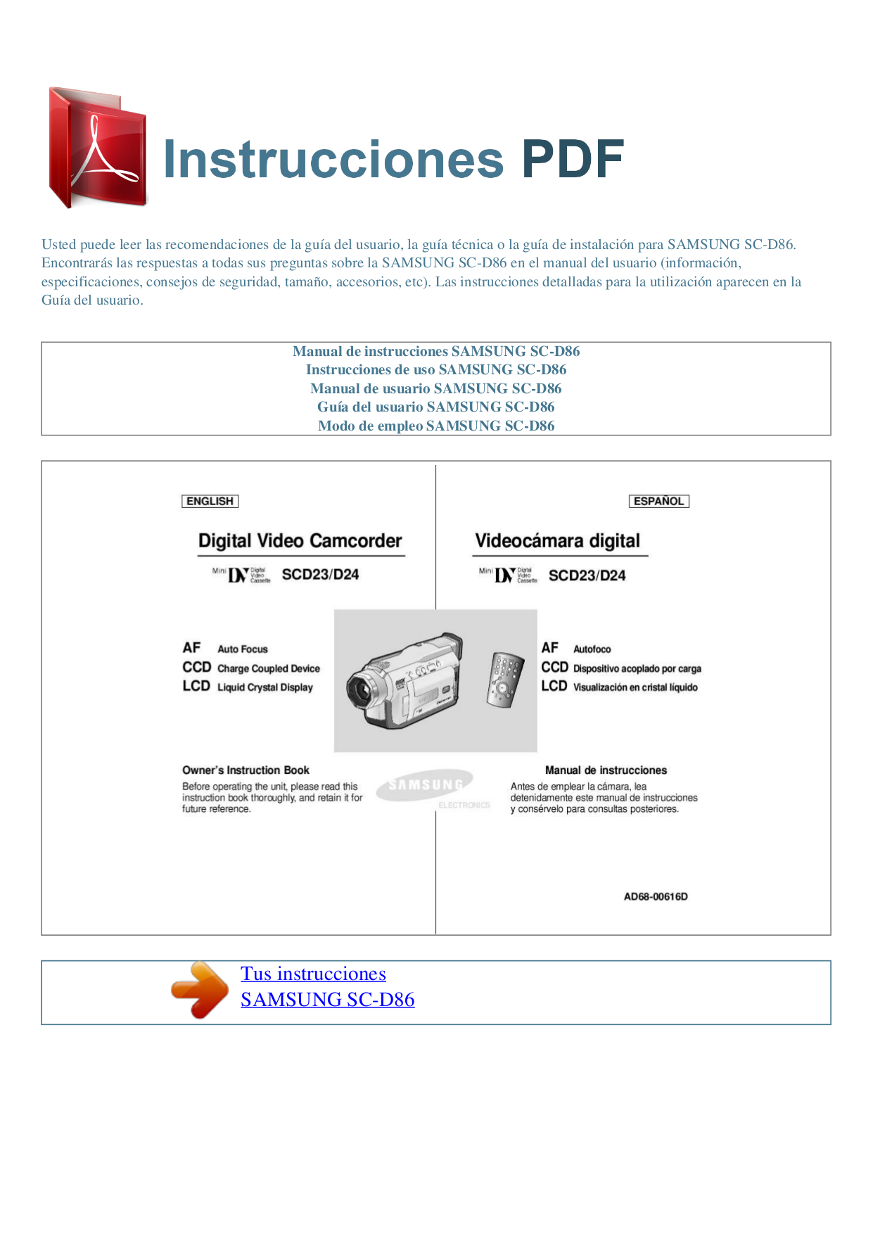 pdf for Samsung Camcorders SC-D86 manual