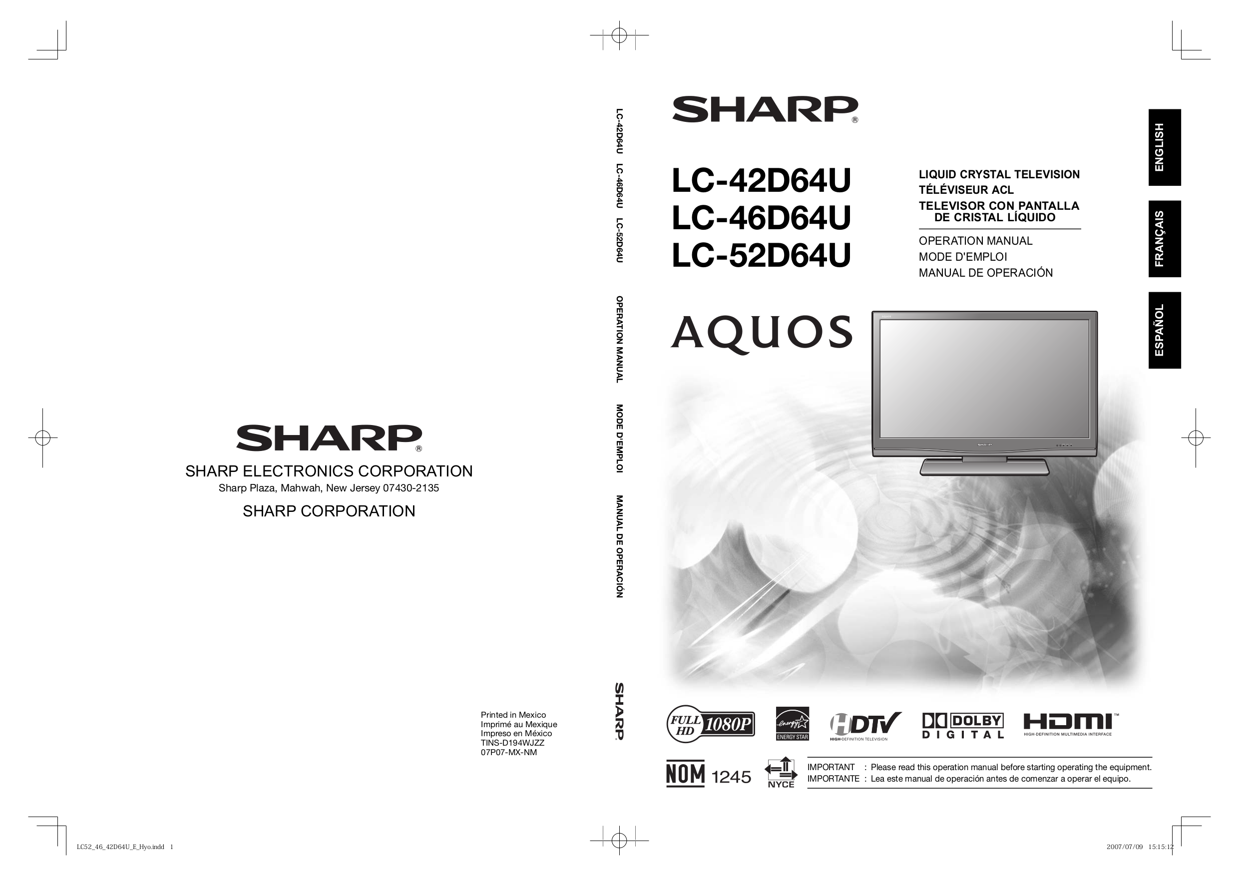 download free pdf for sharp aquos lc 46d64u tv manual rh umlib com sharp tv lc-46d64u manual sharp aquos lc46d64u manual