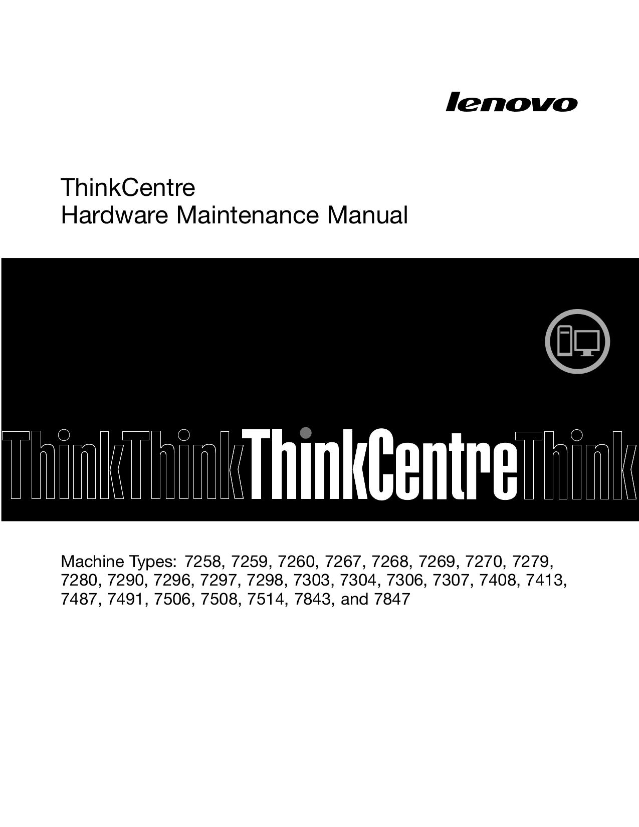 pdf for Lenovo Desktop ThinkCentre M58e 7269 manual