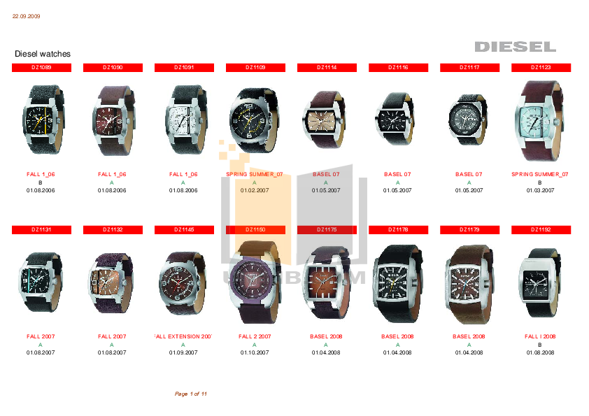 pdf for Diesel Watch DZ1091 manual