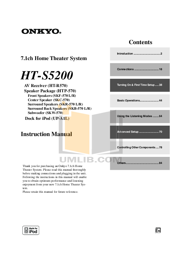 pdf for Apex Home Theater HT-100 manual