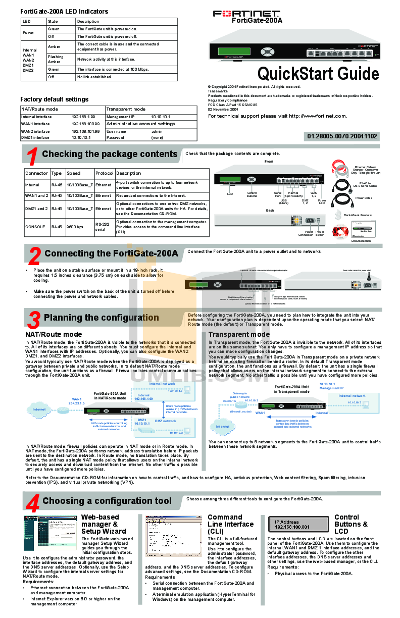 Download free pdf for Fortinet FortiGate FortiGate-200A Router manual