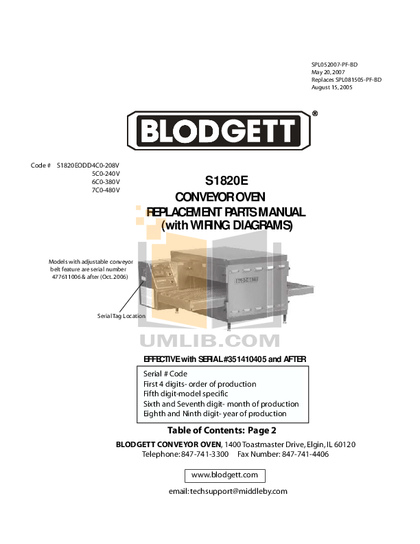 pdf for Blodgett Oven MT1828G DOUBLE manual