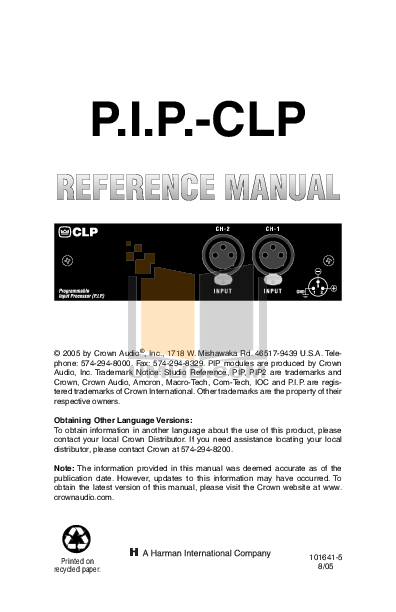 pdf for Crown Other PIP-CLP Programmable Input Processors manual