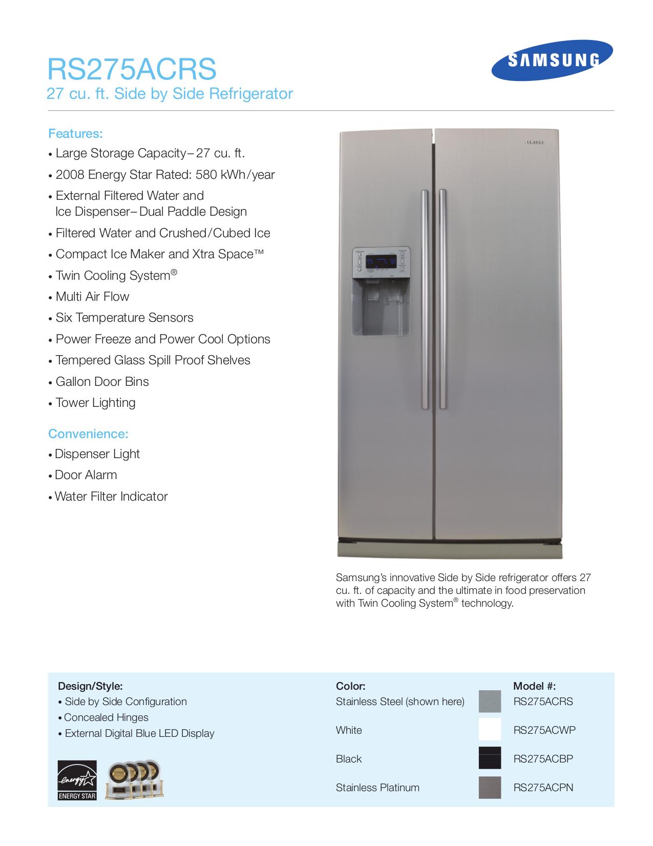 pdf for Samsung Refrigerator RS275ACRS manual