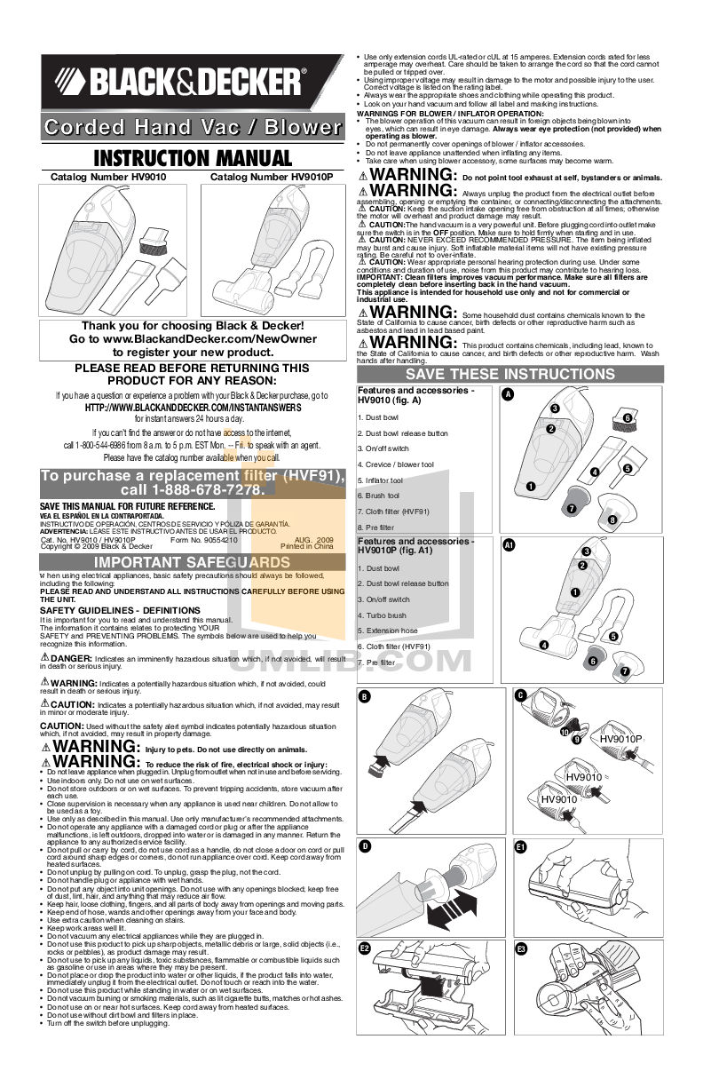 pdf for BlackAndDecker Vacuum HV9010P manual
