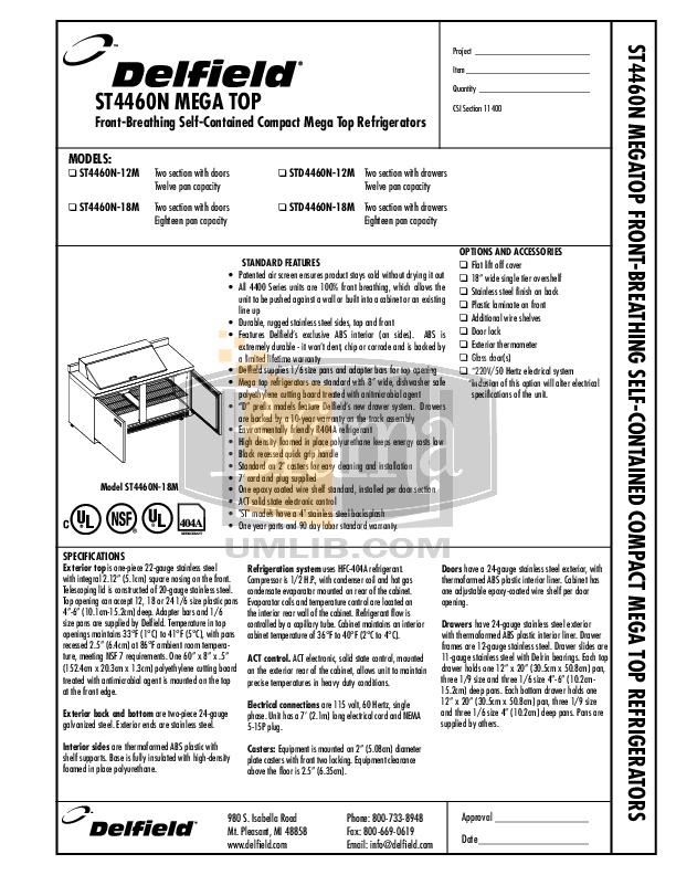 pdf for Delfield Refrigerator STD4460N-12M manual