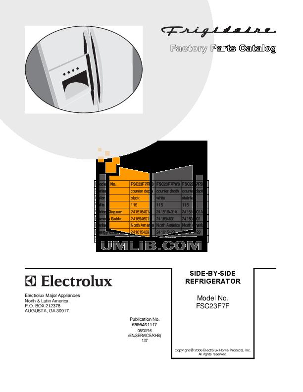 pdf for Frigidaire Refrigerator FSC23F7FW0 manual