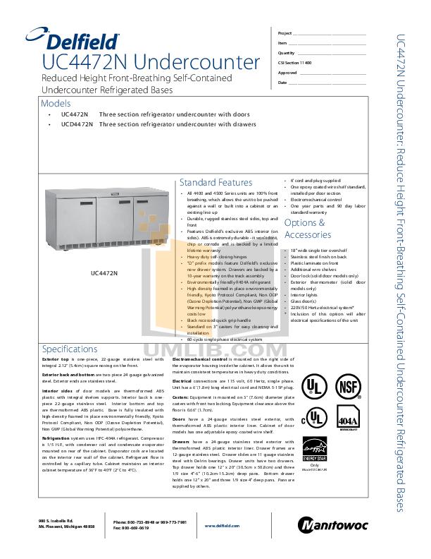 pdf for Delfield Refrigerator UCD4472N-18 manual