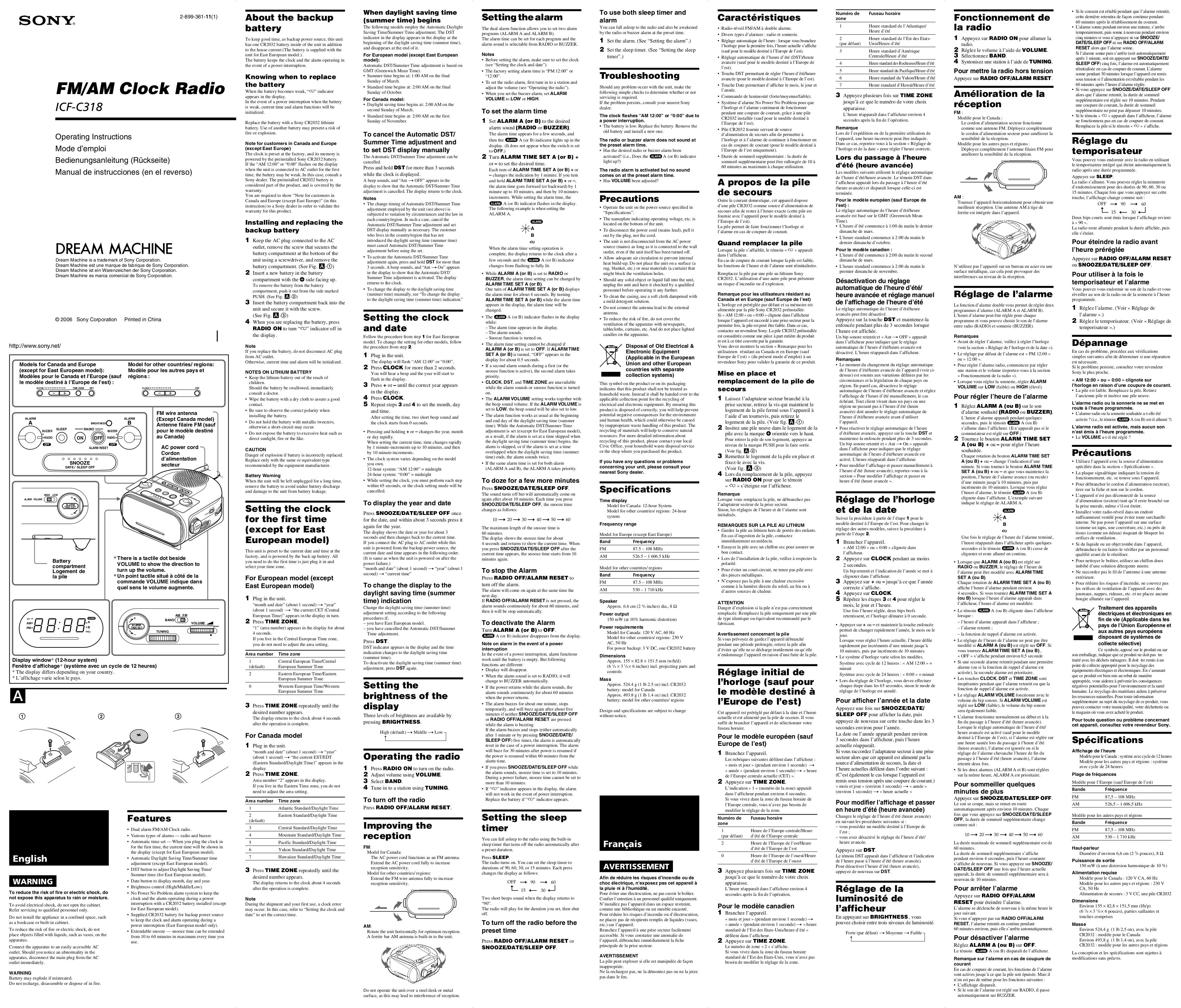 download free pdf for sony icf c318 clock radio manual rh umlib com Sony Alarm Clock Sony Dream Machine Clock Radio Manual