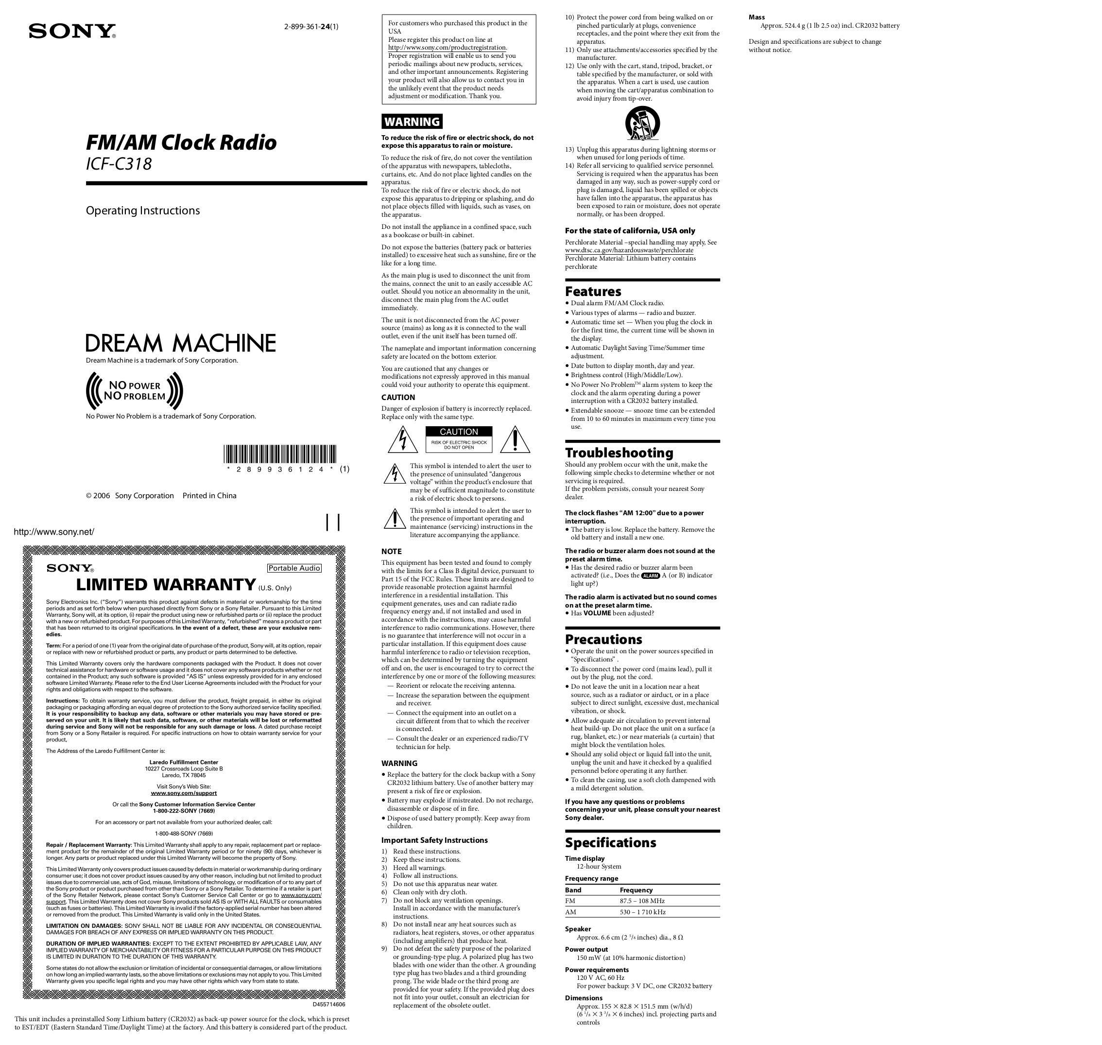Sony Icf C318 Manual