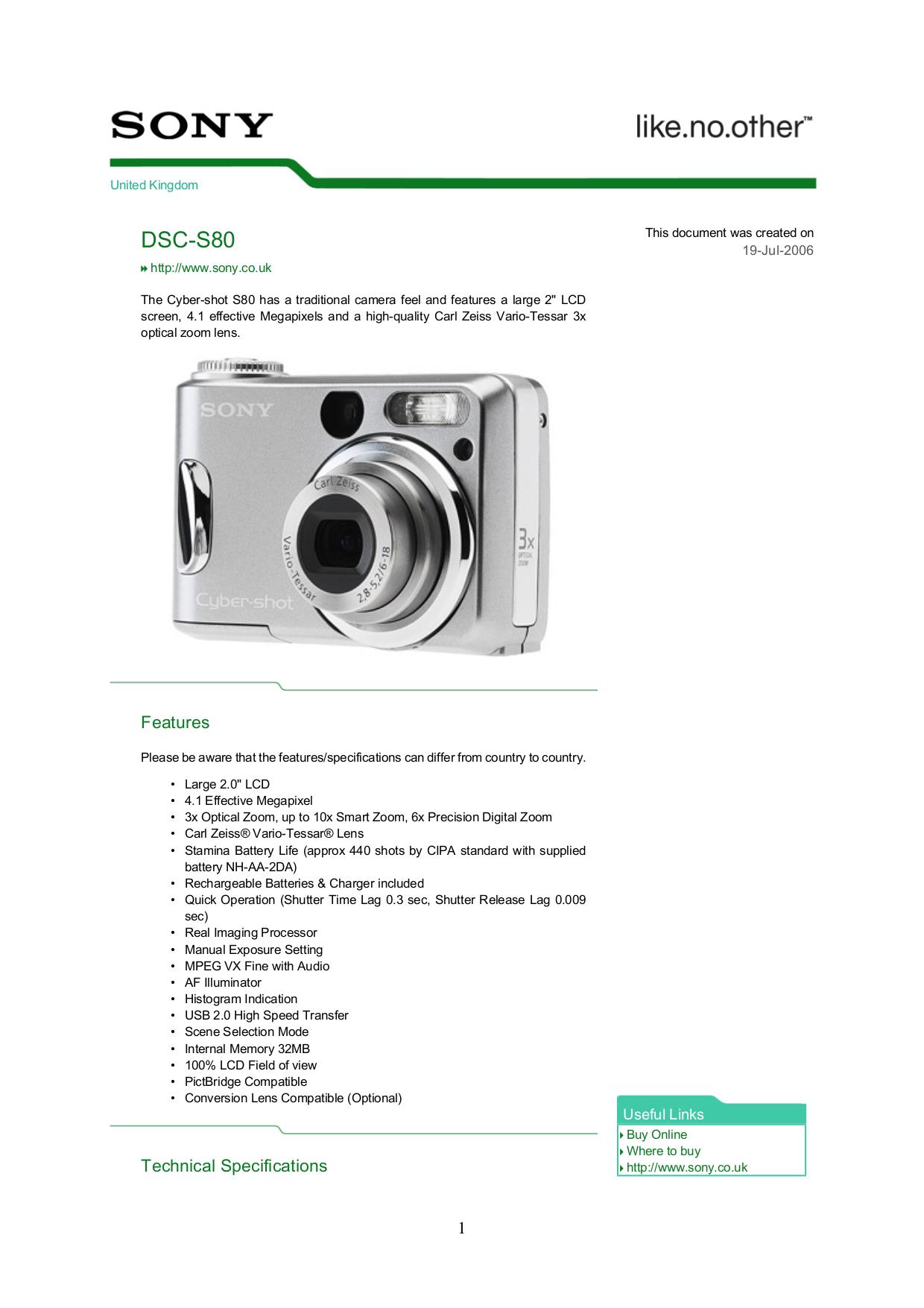Sony dsc s80 review.