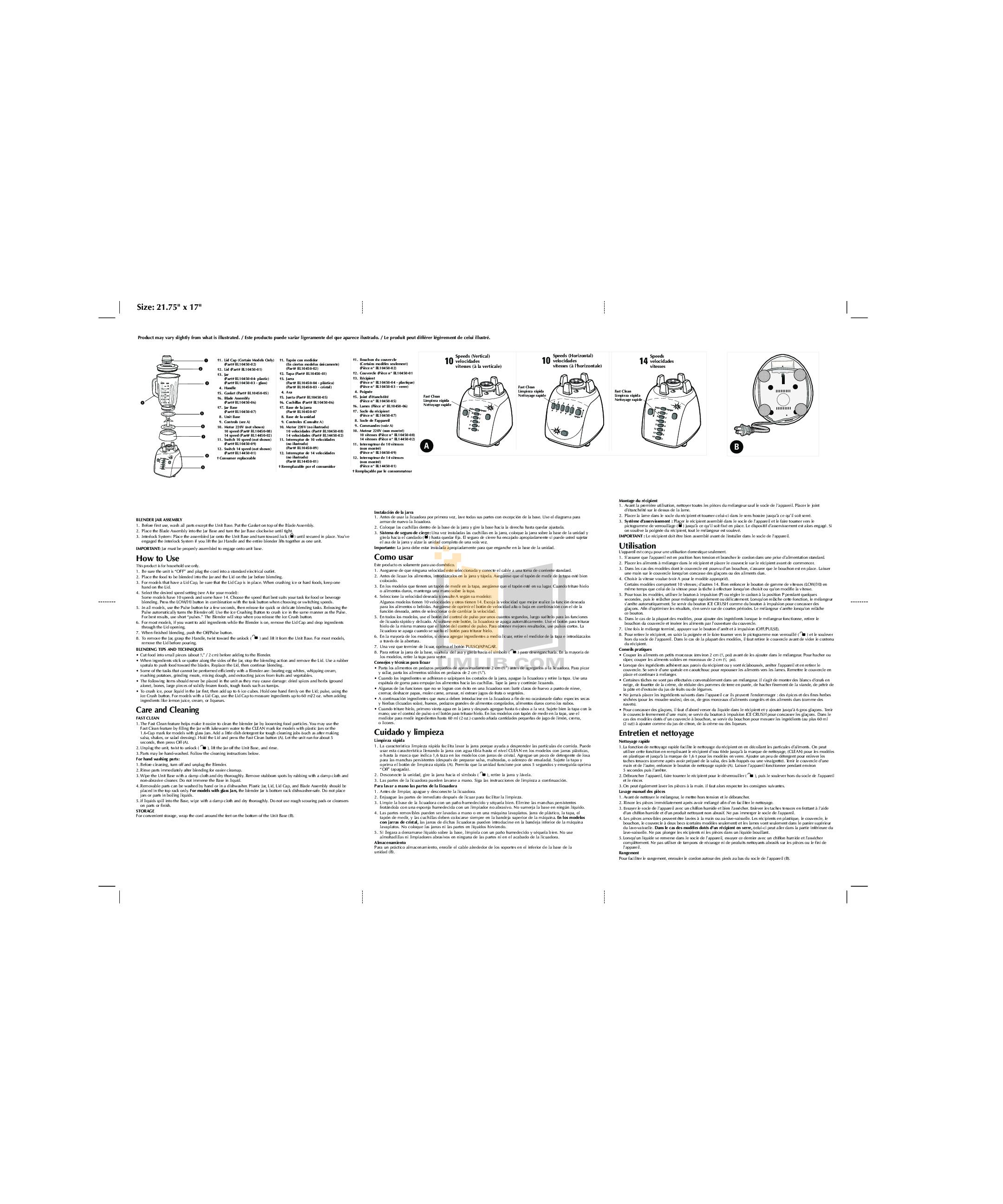pdf for BlackAndDecker Blender BL4450 manual