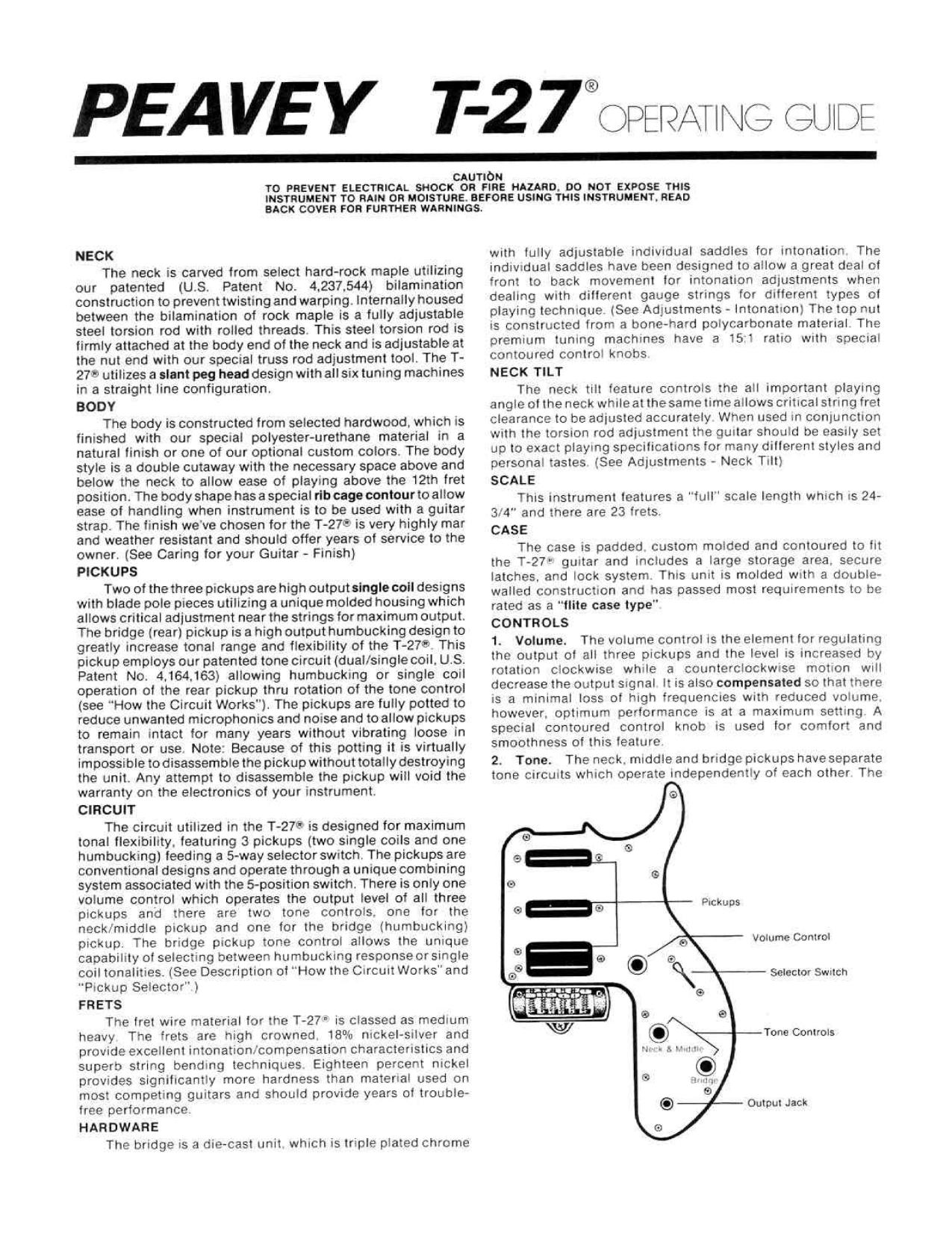 pdf for Peavey Guitar T27 manual