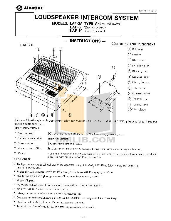 pdf for Aiphone Other LAF-10S Intercoms manual