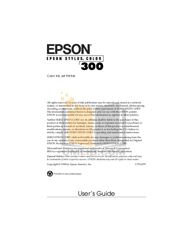 pdf for Epson Printer Stylus Color Stylus Color IIs manual