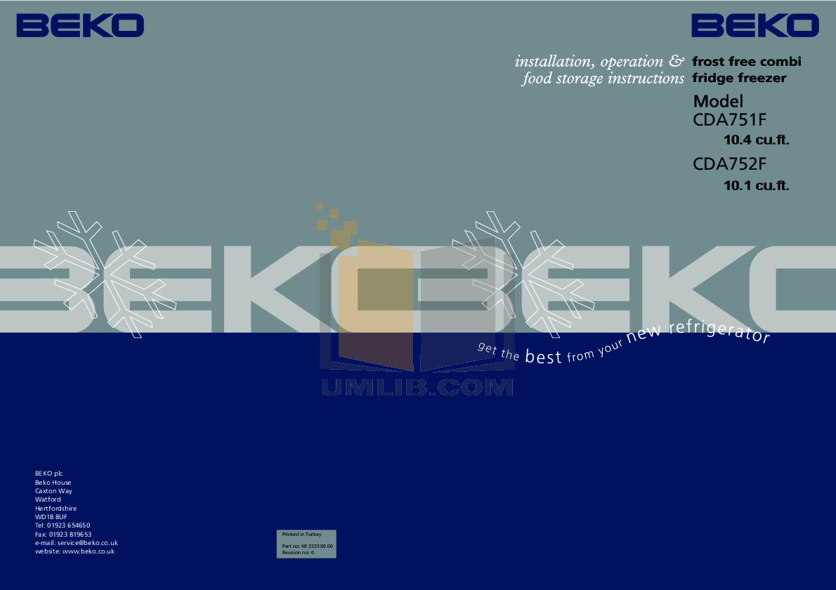 pdf for Beko Refrigerator CDA752F manual