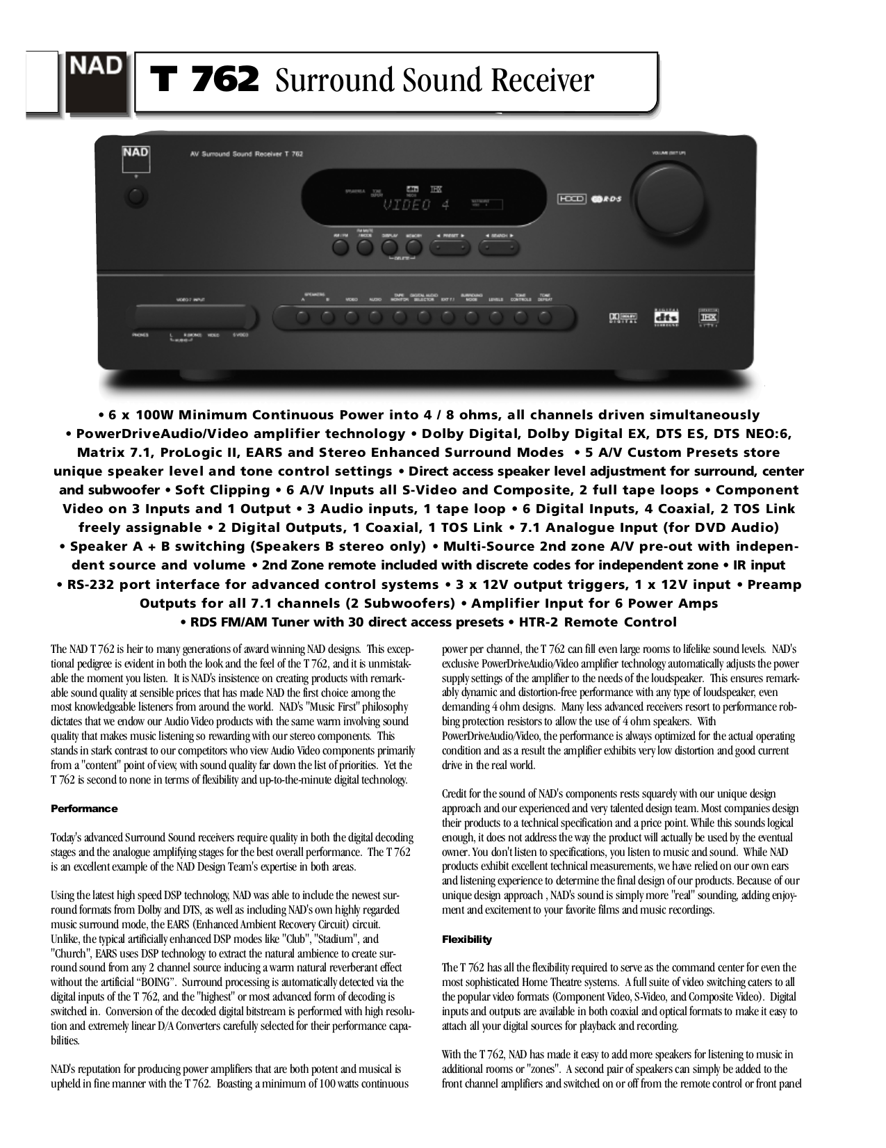 pdf for NAD Receiver T762 manual